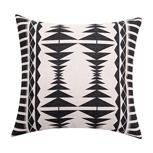 BreezyLife Aztec Throw Pillow Covers Black and White Decorative Pillow Cases Square Linen Accent Cushion Covers for Sofa Couch Farmhouse Outdoor Housewarming Gift 20x20