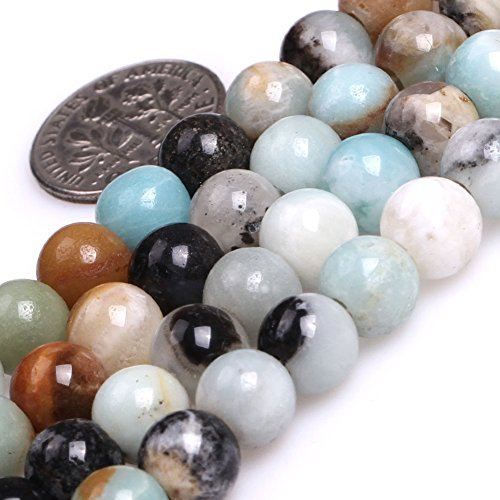 GEM-inside 8mm Natural Mixed Color Amazonite Gemstone Loose Beads Big Large Hole Beads for Jewelry Making Jewelry Beading Supplies for Women