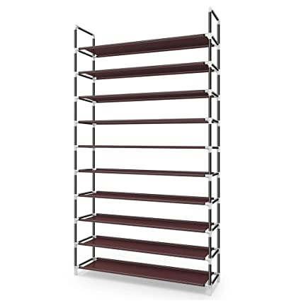 29af429bcdfee Awenia Shoe Rack 3/5 /10 Tiers 2019 Newest DIY Adjustable Organizer  Metal-Up To 50 Pairs Shoes Storage Cabinet Shelves With Spare Parts Easy to  ...