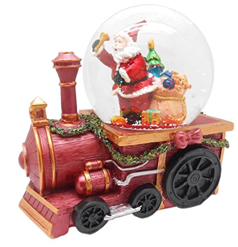 Musical Figurine Santa Up Wind - Lightahead Musical Christmas Santa with Gifts Figurine Water Ball Snow Globe on a Train Engine, with The Inside Figurine Revolving in polyresin