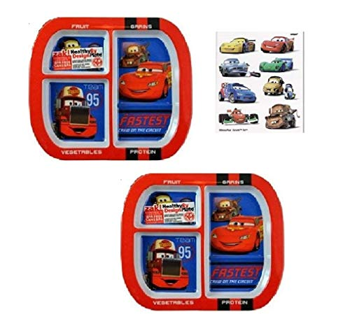 Zak Designs Disney Cars 3-Section Melamine Plates Featuring Lightning McQueen, Mater, Rust-eze, BPA FREE - 2 Plates and 8 Tattoos