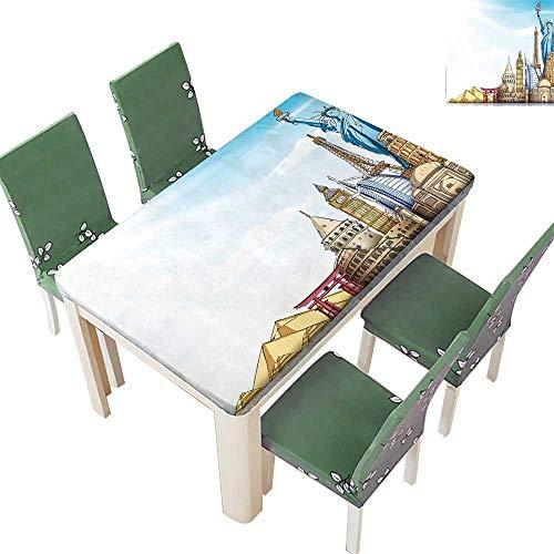 Printsonne Polyester Fabric Tablecloth World Landmarks 3D Ef