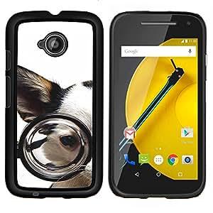 EJOOY---Cubierta de la caja de protección para la piel dura ** Motorola Moto E2 E2nd Gen ** --Gafas perro Chihuahua Mascota canina Blanca