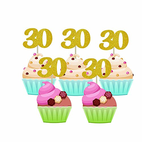 Homy Feel 48 Pieces 30 Number Gold Glitter Birthday Cupcake Toppers,30th Cupcake Picks Mini Cake Decorations for Birthday Party Supplies