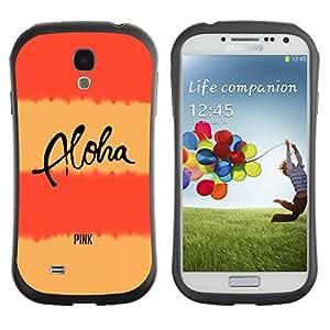 Suave TPU GEL Carcasa Funda Silicona Blando Estuche Caso de protección (para) Samsung Galaxy S4 I9500 / CECELL Phone case / / peach pink aloha text lines yellow /