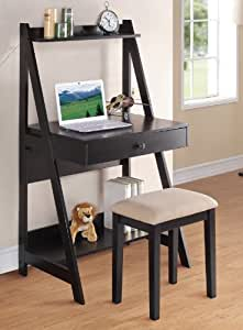 Furniture Xo Out Of Business Of Poundex Writing Desk And Stool With Black