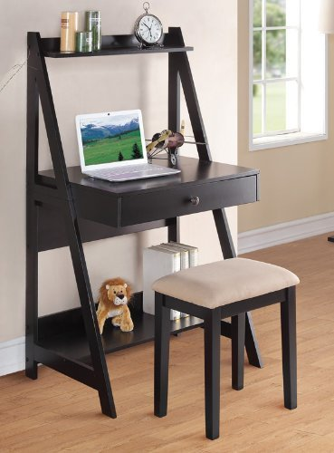 - Poundex PDEX-F4682 Writing Desk and Stool with Black Color Finish Pine Wood