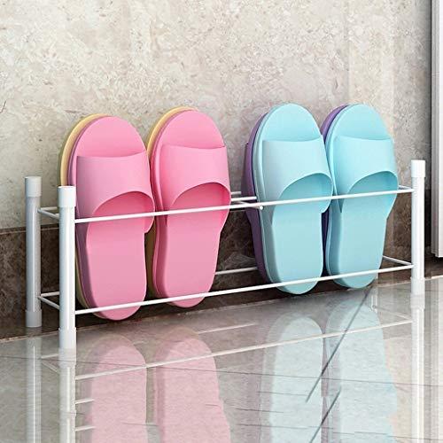 HHQ Balcony Shoe Rack, Home Wrought Iron Bathroom Off The Shoe Rack, Floor Drain Drain Door Rear Shoe Rack (Color : White)