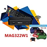 MAG 322 W1 IPTV BOX + IN BUILT WIFI + HDMI CABLE + 3 color backlit i8 mini keyboard + original MAG REMOTE + POWER ADAPTER