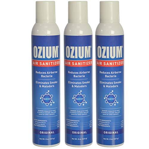 Ozium Air Sanitizer Spray - Glycolized Air Freshener Reduces Airborne Bacteria Eliminates Smoke & Malodors 8oz Spray Air Freshener, Original (3 Pack) Hand Sanitizer Included by Ozium (Image #1)