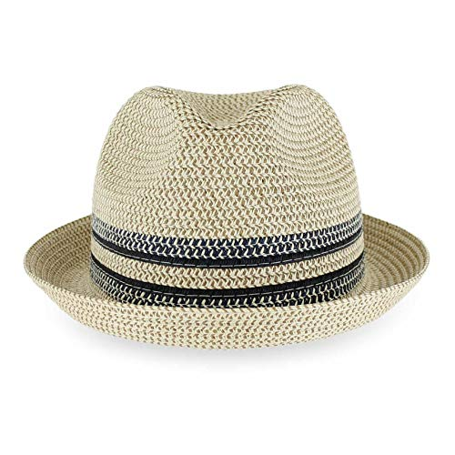Belfry Men Women Summer Straw Trilby Fedora Hat in Blue Tan Black (Large, DaxYellow)