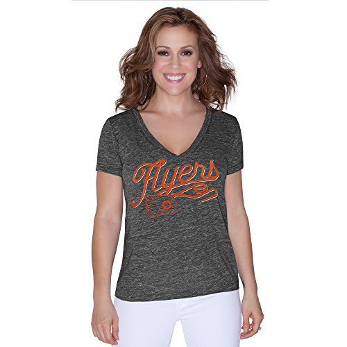 NHL Philadelphia Flyers Women's All American Tri Blend V-Neck Top, Small, Black