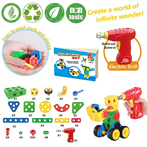 STEM Building Blocks Toys Kit Limei Construction Engineering Science Bolt Blocks Game Toy Building Set with Child-Hand Power Drill Wheels Ratchet for Kids Age 3 4 5 6 7 8 9 Years Old(105Pcs)