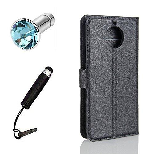 Lusee® PU Caso de cuero sintético Funda para Motorala MOTO G5S 5.0 Pulgada Cubierta con funda de silicona azul negro