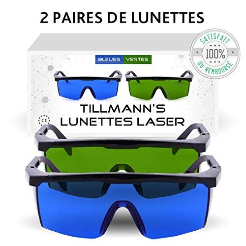 Lunettes Laser Tillmann's- Deux paires de Lunettes de Protection contre la Lumière Pulsée. Avec un petit sac-étui. A…