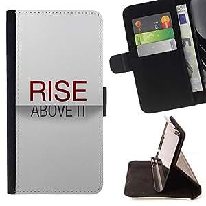 Momo Phone Case / Flip Funda de Cuero Case Cover - Rise Above It texto minimalista elegante Red - Samsung Galaxy S6