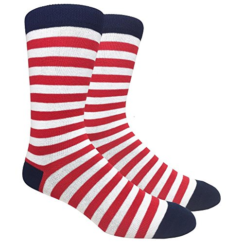 Urban Peacock Men's Fashion Dress Crew and Trouser Socks, (Wide Red & White Stripes, 1 Pair) , 10-13 ()