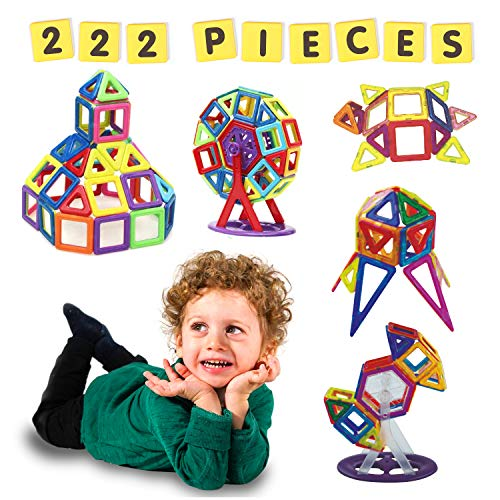 Magnetic Blocks for Kids - 222 PCS Magnetic Building Blocks, Nontoxic, BPA-Free Magnetic Tiles with Strong Natural Magnets - Educational Building Blocks for Ages 3 Plus by Magnetic Land from Magnetic Land