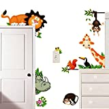 MLM Lovely Giraffe Monkey Rhinoceros Lion Zoo Zoological Ggarden Art Wall Stickers Decal for Nursery Home Decor Children Courtyard Baby Room