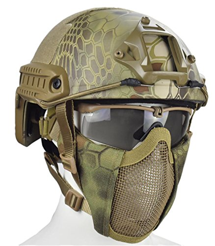 Jffcestore MH Updated Version Fast Tactical Helmet Combined with Foldable Half Face Airsoft Mesh Mask and Goggles for Airsoft Paintball CS Game Set(Jungle)