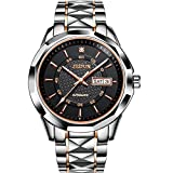 JSDUN Men's Big face Waterproof Auto Mechanical Tungsten Steel Business Wrist Watch, Week Date Window Black/ White Dial