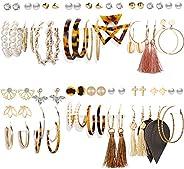 36 Pairs Fashion Tassel Earrings Set for Women Girls Bohemian Acrylic Hoop Stud Drop Dangle Earring Leather Le