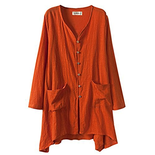 Gordon Q Women's Linen Comfort Buttons up Plus Size Long Shirts Orange 1X