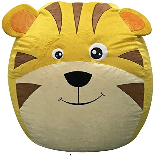 Animal Shape Lion Extra Large Bean Bag Covers Only Yellow Jumbo XXL 40 Inches Anti Tear Stuffed Animal Storage Premium Velvet Toy Fabric Extreme Soft Storage Solution Pillows/Toys/110 Stuffed Toys