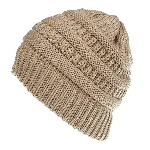 CHIDY Men Women Cute Trend Solid Color Warm Cap Wool Knit Ski Beanie Skull Slouchy Hat -