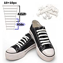 TOTOMO No-Tie Elastic Silicone Shoe Laces, Kids/Adults Converse Athletic Bubble, White