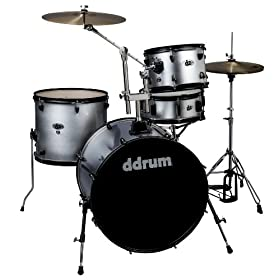 ddrum D2R SILVER SPKL D2 Rock Kit with Black Hardware, Silver Sparkle 6