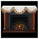 Linens, Art and Things Fireplace Mantel Scarf with Gold Beige Lace on White 19'' x 90''