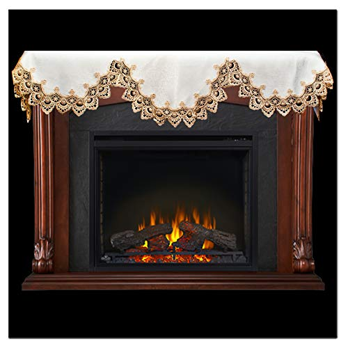 Linens, Art and Things Fireplace Mantel Scarf with Gold Beige Lace on White 19 W x 90 L