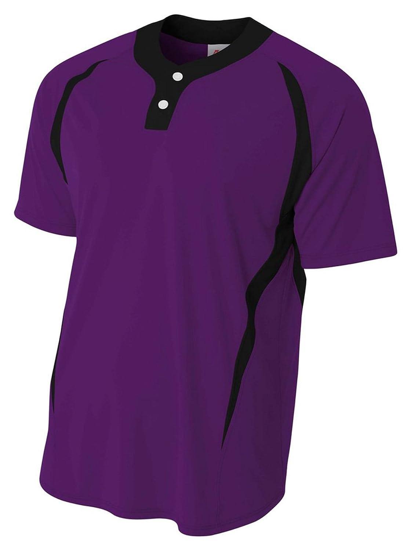 a4メンズ2つボタンカラーブロックBaseball Henleyシャツ B0799M64DGPurple/ Black 3X-Large
