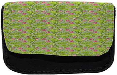 Ambesonne Botanical Pencil Case, Turmeric Flower Blossom, Fabric Pen Pencil Bag with Double Zipper, 8.5