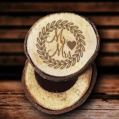 Vintage Hojas Señor y señora caja de anillos de boda rústico madera anillo soporte titular recuerdo aniversario regalos: Amazon.es: Hogar