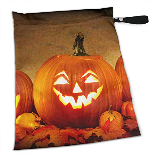Jack O Lantern Carving Pumpkin Halloween Scary Ghost Swimsuit Towels Waterproof Kids Baby Boy Clothes Diaper Hanging Reusable Menstrual Sanitary Cloth Pads Handle Wristlet Portable Wet-Dry -