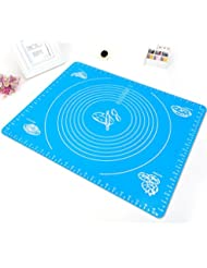 Large Silicone Baking Mat for Pastry Rolling with Measurements Pastry Rolling Mat, Food Grade Reusable Nonstick Silicone Baking pad (blue) for Housewife Cooking Enthusiasts by GLLEEN