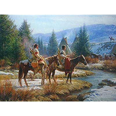 Wooden Puzzles for Children 1000 Piece Native American Western Horse Gun Hunting Winter Ride Adults Puzzle Game Wood Toys Portable Rolled up No Glue Required: Toys & Games