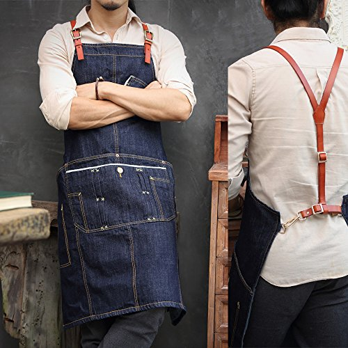 [Home-organizer Tech Multi-Use Detachable Tool Apron Heavy Duty Denim Jean Work Apron Salon Barber Hairdressers Apron BBQ Gril Housewife Apron with Pockets, Adjustable for Men & Women (Men Size)] (50 Housewife Costume Ideas)