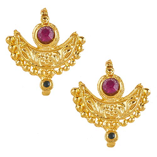 (Bodha Indian Bollywood 22K Traditional Gold Stud Earrings For Women (SJ_1436))