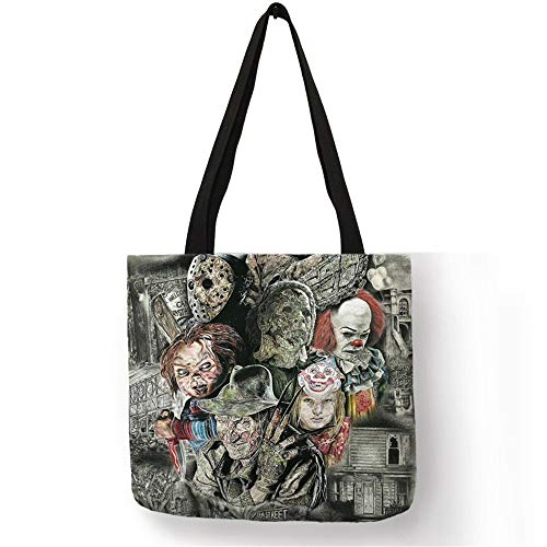 (Customized Tote Bags for Women Horror Movie Characters Freddy Chucky Linen Bag with Print eco Reusable)