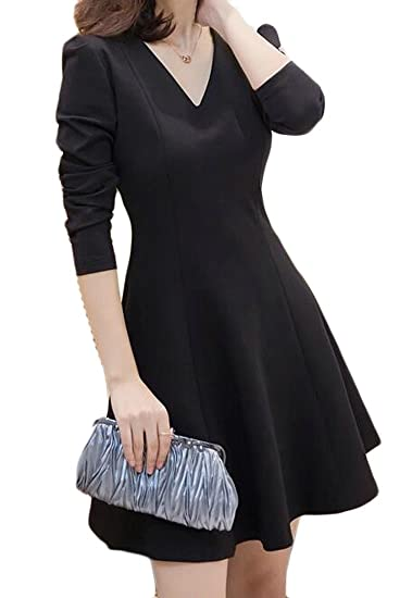 e2e8aef5e4 ARTFFEL Women Long Sleeve Elegant V-Neck Cocktail Party Casual Pleated A-Line  Midi