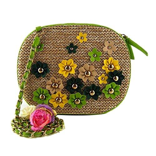 Mujeres Multicolor Pequena Paja Flor Tejer Los Mini Bolsos De Hombro Crossbody Ovales Marron Claro