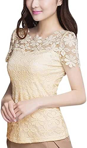ZANZEA Women Lace Casual Short Sleeve Sexy Round Neck Elegant Tops Blouses Tee T-shirt Shirt
