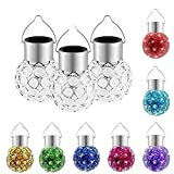 3 X Solar Hanging Crystal Ball Light,Outdoor Hanging Decorative Sparkling Crystals Gazing Ball