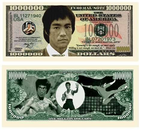 American Art Classics Pack of 50 - Bruce Lee Million Dollar Bill - Best Gift Or Party Favor for Fans of This Martial Arts Legend