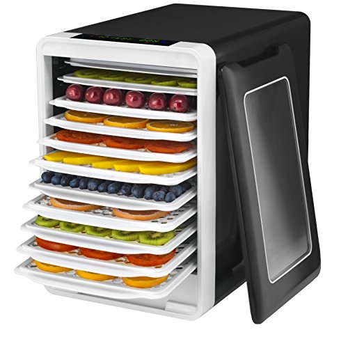 Gourmia GFD1750 Food Dehydrator With Touch Digital Temperature Control, Ten Drying Trays Plus Beef Jerky & Sausage Hanging Rack, Sleek Design, Transparent Window & Free Recipe Book - Black