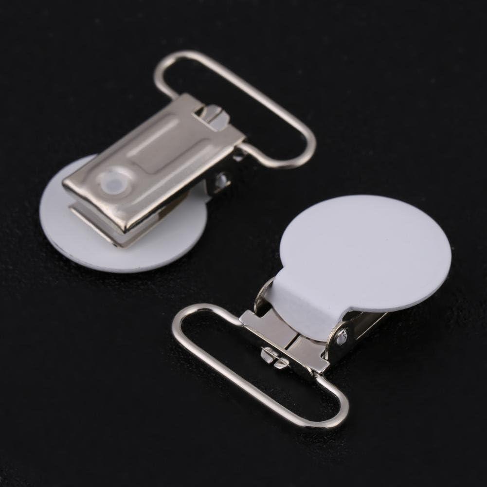 Attache-t/étine blanc 10pcs Attache-porte-jarretelles ronde en m/étal Attache-t/étine pour bricolage Artisanat du cuir
