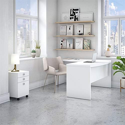 Office by kathy ireland Echo L Shaped Bow Front Desk with Mobile File Cabinet in Pure White